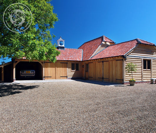Oak garages with storage room in the roof - Cheshire