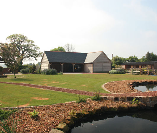 L shaped oak framed building in Cheshire