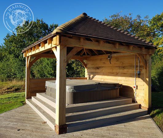 Oak hot tub cover under a Radnor Oak gazebo