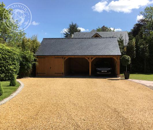 Three bay oak garage and carport in Sussex