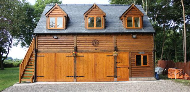 Oak Framed Garage With Room Above