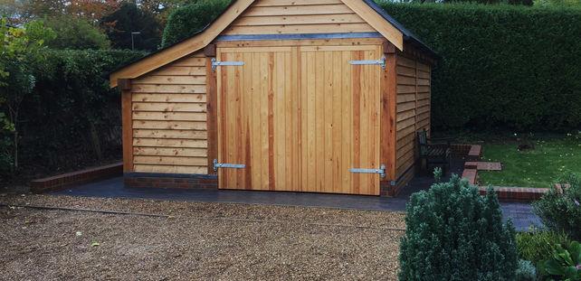 Secure oak framed garage and store in Surrey.
