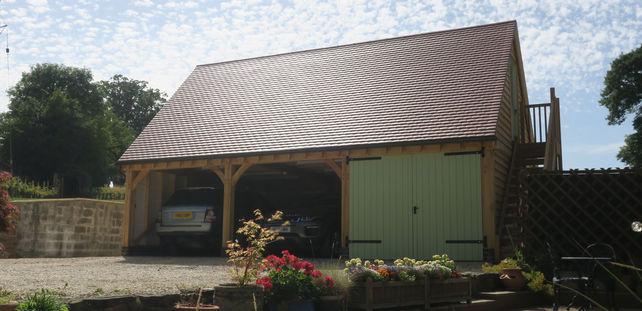 Oak framed carport. Oak workshop. Oak hobby room.
