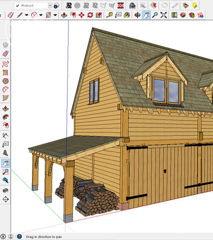 modern design software assists us to make our oak frame buildings unique to your requirements