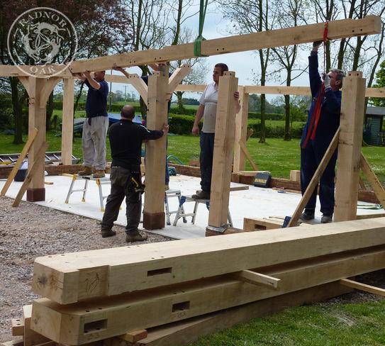 The oak frame starts going up
