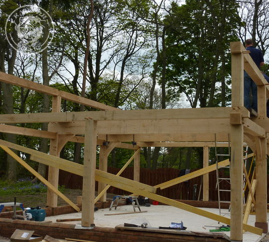 The second storey frame is up