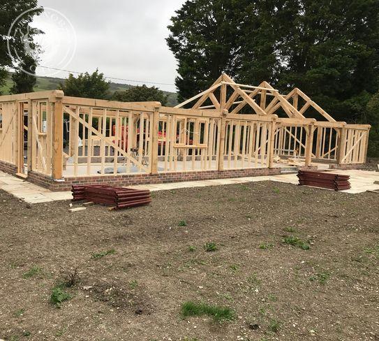 oak truss frame timber building