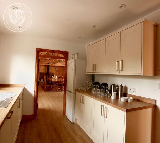 oak framed building interior kitchen
