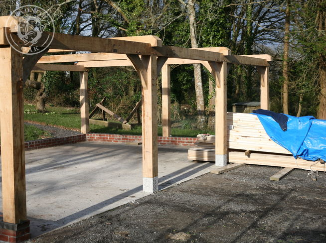 oak posts carport frame