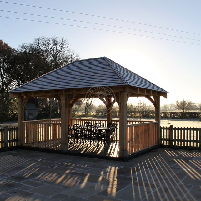 Large Oak Framed Gazebo | Garden Dining Area | Powys | Showsite | Radnor Oak
