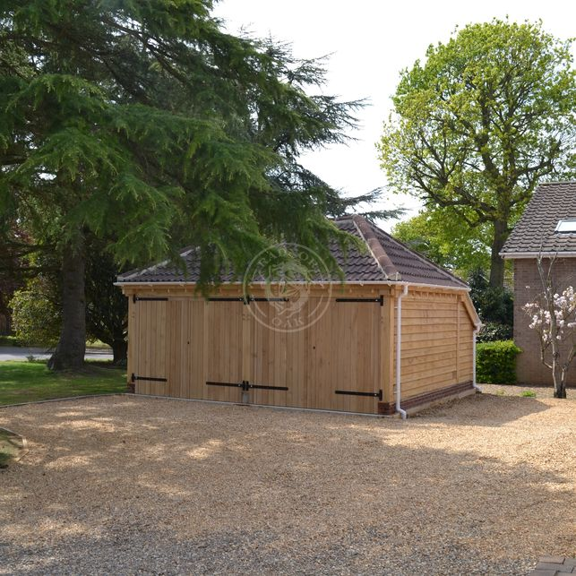 Lucton   2 Bay   Oak Framed Garage built by Norfolk Cart Lodges   Radnor Oak