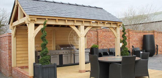 Oak gazebos pavilions radnor oak for Small garden shelter