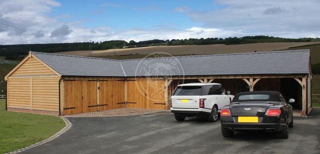 L Shaped Byton Low Ridge | Bespoke Oak Buildings | Carport and Outdoor Storage | Radnor Oak
