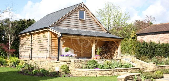 Log Store | Sheltered Garden Seating | Radnor Oak