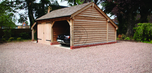 Lucton Two Bay Garage | LUC2018 | One Bay enclosed with Double Doors | Radnor Oak