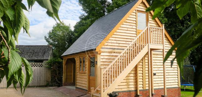 2 Bay Oak Framed Garage | Norton | Radnor Oak | Garages & Outbuildings | Carport | Garden Office | Home Studio