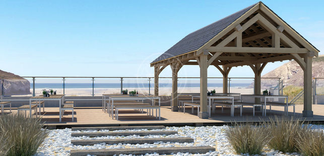 Oak Framed Garden Pavilion | Enclosed Beach Dining area | Radnor Oak