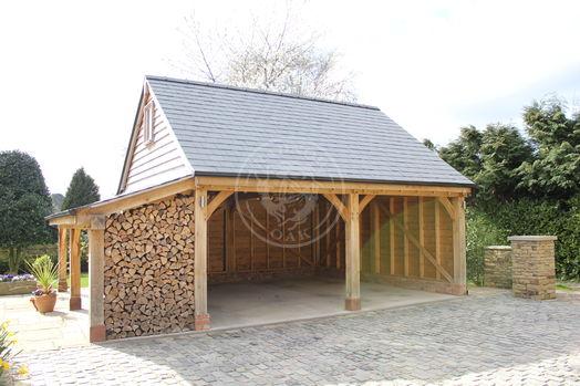2 Bay Oak Framed Garage With a Log Store on the Left | Open Fronted | Byton High Ridge | Radnor Oak