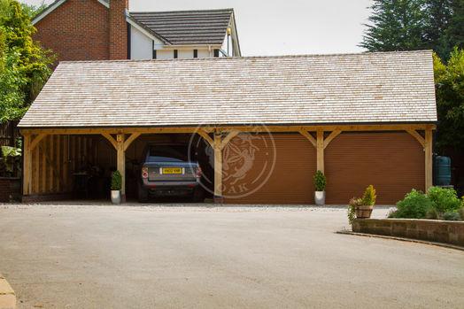 Byton High Ridge | 4 Bay Oak Garage with Roller shutter doors | Radnor Oak | Carport