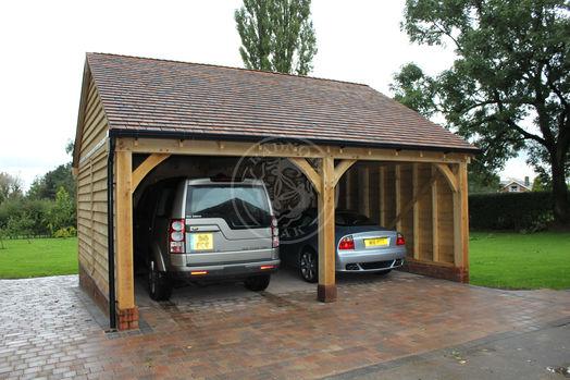 Byton High Ridge | 2 Bay | Open Fronted Garage | Carport | Radnor Oak
