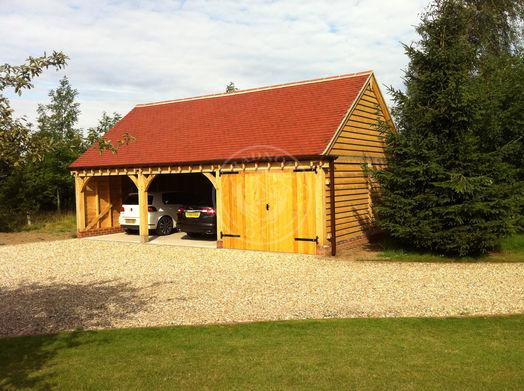 Byton High Ridge | 3 Bay Oak Frame Garage with one bay enclosed | Radnor Oak | Carport