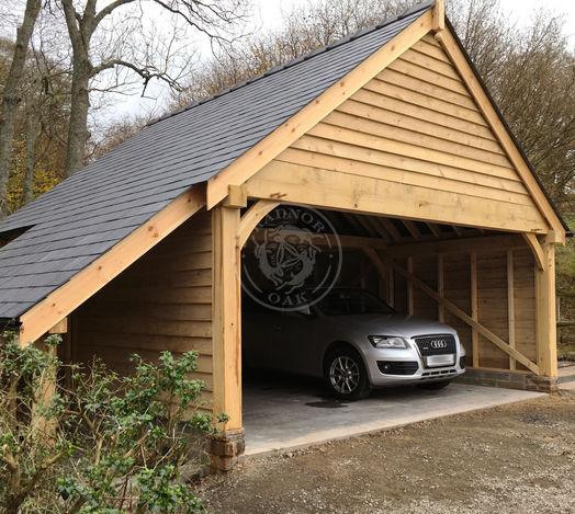 2 Bay Byton High Ridge | Deep Beam | Oak Framed Garages | Radnor Oak | Carport and Outdoor Storage
