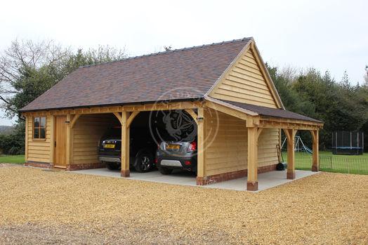 Oak Framed Carport with Workshop & Logstore | Radnor Oak