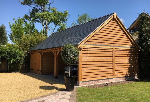 Three bay garage | One Bay Enclosed with Double doors | Radnor Oak Buildings