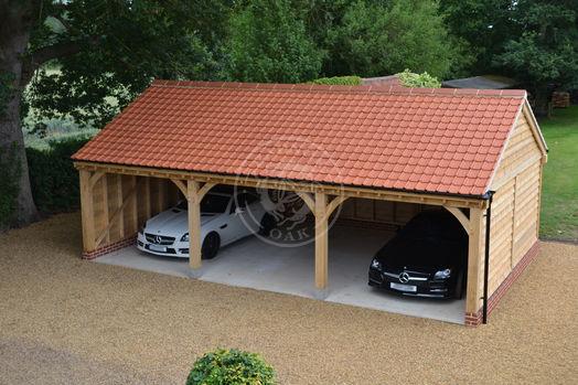 Byton Low Ridge | 3 Bay | Open Fronted | Classic Carport | Radnor Oak