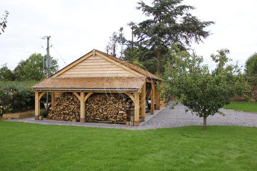 Byton Low Ridge | Open Fronted | Side Log Store | Radnor Oak