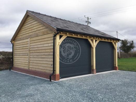 2 Bay Byton Low Ridge | Roller Shutter Doors | Radnor Oak