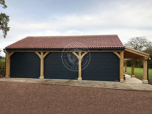 3 Bay Byton Low Ridge | Roller Shutter Doors | Carport with Log Store | Radnor Oak