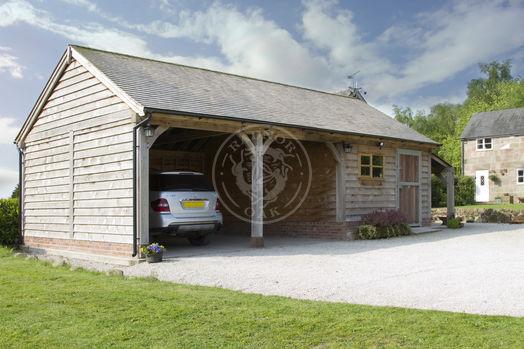 Byton Low Ridge | 3 Bay Oak Framed Garage | Outdoor Storage | Radnor Oak