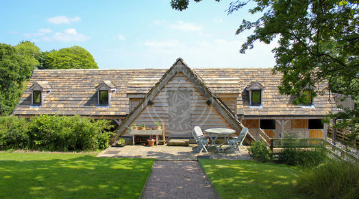 Oak Framed Garage with Room above | Radnor Oak | Dormer Windows and heavy slate tiles