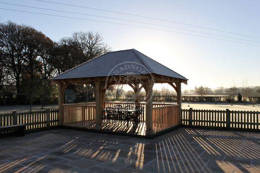 Large Oak Framed Gazebo   Garden Dining Area   Powys   Showsite   Radnor Oak