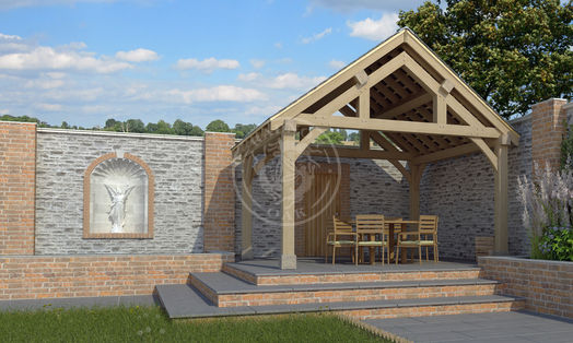 Oak Framed Garden Pavilion | Enclosed Garden Dining area | Radnor Oak