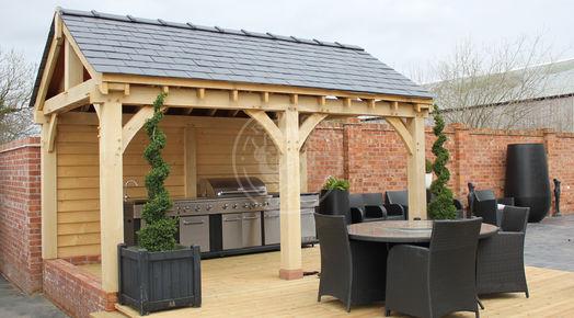 Outdoor Kitchen BBQ Cover | Garden Room or BBQ Shelter | Radnor Oak