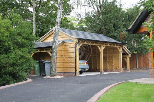 2 bay open fronted timber framed garage   Bespoke Log Store   Radnor Oak