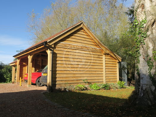 Kinsham Garage   Open fronted 2 Bay Garage with Bespoke Log Store   Radnor Oak