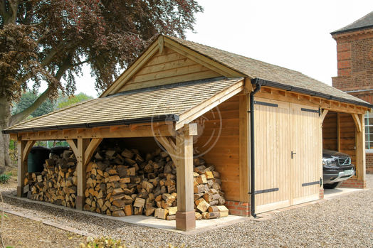 Lucton 2 Bay with Oak Garage with Oak double doors and Log store | Radnor Oak