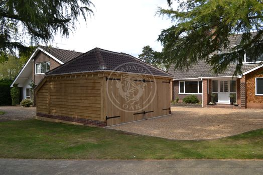 Lucton | 2 Bay | Oak Framed Garage built by Norfolk Cart Lodges | Radnor Oak | Garden Storage