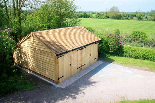 Enclosed 2 Bay Garage With Double Doors and a cat-slide rear | Lucton | Radnor Oak | Carport