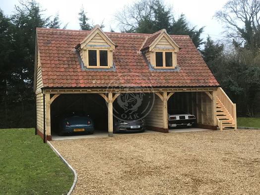 3 Bay Garage with Room Above   Open Fronted   2 Dormer Windows   Carport   Radnor Oak