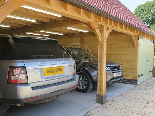 3 Bay Norton   Oak Framed Garages   Open Fronted Bays   Radnor Oak   Hobby Room and Home Studio