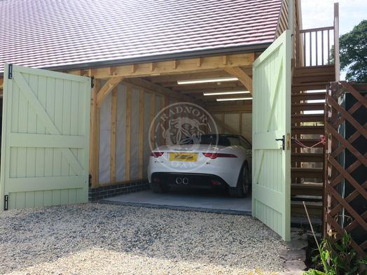 3 Bay Norton   Oak Framed Garages   Softwood Double Garage Doors   Radnor Oak