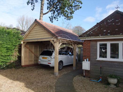 Single Bay Oak Garage   Open Carport   Traditional Oak Garage   Radnor Oak