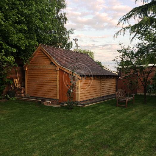 Single Bay Oak Garage   Enclosed Log Store   Traditional Oak Garage   Radnor Oak
