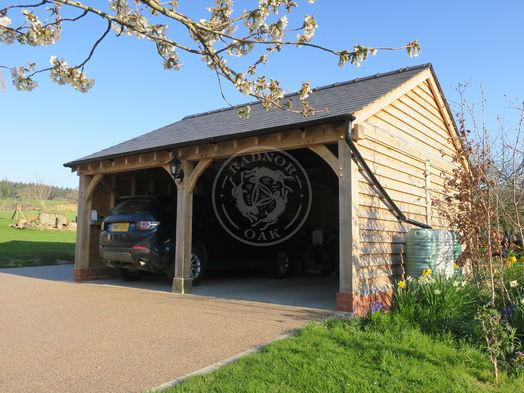 Walton 2 Bay | Open Fronted | Carport | Rear Garden Store | Radnor Oak