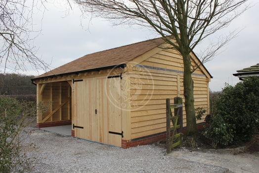 Walton 2 Bay | Double Oak Doors | Carport | Radnor Oak | Outdoor Storage