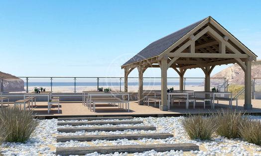 Oak Framed Garden Pavilion | Enclosed Beach Dining area | Radnor Oak